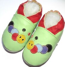 Minishoezoo caterpillar green 12-18m leather indoor first walking shoes slippers