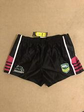 Crisp Satin Nylon NRL Rugby Shorts 3XL Black / Red