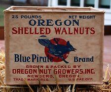 1940 BLUE PIRATE BRAND OREGON SHELLED WALNUTS 25 POUND SHIOPPING BOX NEWBERG OR