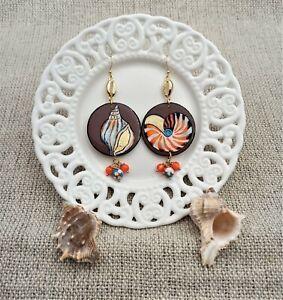 Wooden painted Shell earrings inspired by Sea art. Colorful dangle earrings