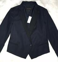 NWT Banana Republic Navy Blue Black Cotton Blazer Size 0