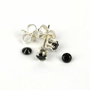 Black Spinel Gemstone 3mm Sterling Silver Stud Earrings