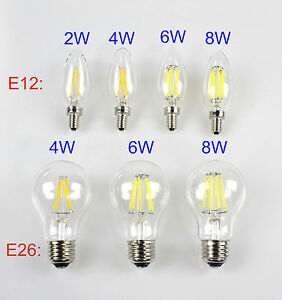 E12 E26 110V 2W 4W 6W 8W Retro Vintage Filament LED Candelabra/Globe Light Bulb