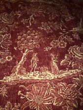 """CUSTOM PIERRE FREY COUNTRY FRENCH RED TOILE DRAPES PINCH PLEATED 63""""LONG"""