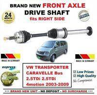Pour VW Transporter Caravelle 2.5TDi 4motion 2003-2009 Neuf avant Droit Arbre
