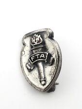 Vintage Enamel FTA Future Teachers of America Award Lapel Pin Burning Torch Logo