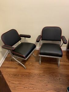 Warren McArthur Art Deco Machine  Age Folding Chairs (4 ) Leather Upholstery