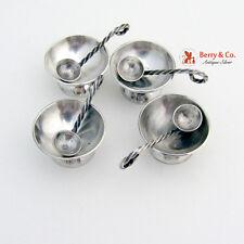 Salt Cellars and Salt Spoons Set of 4 Sterling Silver