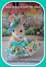 Sylvanian Clothes, New Strap Dress, Hat & bag C For ADULT Rabbit, Cat ETC