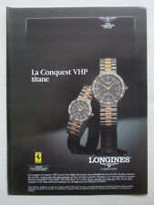 6/1988 PUB MONTRE WATCH LONGINES CONQUEST VHP TITANE FERRARI ORIGINAL FRENCH AD