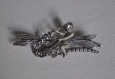 Vtg Cherub Fairy Riding Dragonfly Sterling Silver Brooch Pin Flowers Baby Cupid