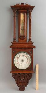 Antique Victorian 19thC Carved Oak Wall Barometer Thermometer Weather Station