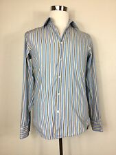Boss Mens 15/38 Blue Brown Stripe Button Front Long Sleeve Shirt
