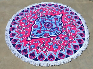 "61"" Fringed Roundie Round Beach Towel Blanket Mandela Bohemian Hippy Terry Cloth"
