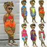 Toddler Kids Baby Girls Outfits Clothes African Print Sleeveless Romper Jumpsuit