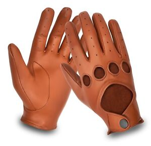Real Leather Mens Chauffeur Car Bus Driving Gloves Retro Classic Style Vintage