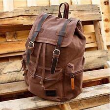 Vintage Unisex Casual Leather Backpack Canvas Rucksack Bookbag Satchel Hiking BA