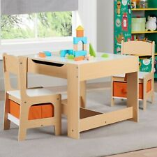 Kids' Wooden Storage Table and Chairs Set - 3 Piece