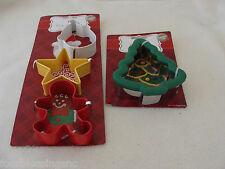 WILTON COOKIE CUTTERS-CHRISTMAS TREE-STAR-SANTA FACE-GINGERBREAD MAN-NEW ON CARD