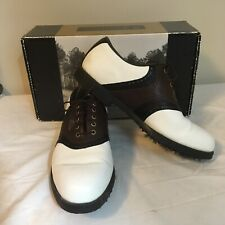 FootJoy Shoes Mens Two-Tone Leather White Brown Sz 9M 9 M  #53048 With Box FS!