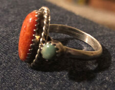 5.5 By Raymond Delgarito Navajo Sterling Coral/Turquoise Ring Sz