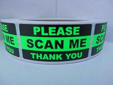 PLEASE SCAN ME THANK YOU  QR CODE BARCODE 1x2 sticker label fluor green 500/rl