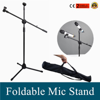 Foldable 360-Degree Rotating Microphone Stand Dual Mic Clip Boom Arm Tripod Bag