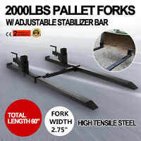 2000lbs Clamp on Pallet Forks Loader Bucket Skidsteer Tractor Chain Bar