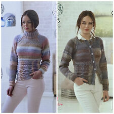 KNITTING PATTERN Ladies Long Sleeve Cable Jumper &Cardigan Chunky King Cole 4637