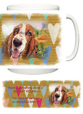 BASSET HOUND DOG  NEW HEART DESIGN MUG SANDRA COEN ARTIST OIL PAINTING PRINT