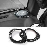 For Jeep Wrangler JK 2015-2017 Dashboard Speaker Cover Trim Decor Carbon Fiber