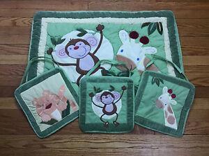 Baby Nursery Safari Jungle Set w 3 Wall Hangings and Crib Blanket Quilt Nojo 4pc
