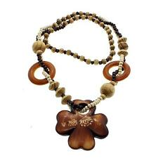 Fashion Jewelry Wood Cross Flower Pendant Wood Beads Long Necklace Party Gift