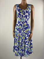 BEING CASUAL Drop Waist Crepe Button Front Tie Back Summer Dress 12