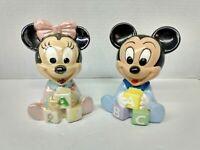 Vtg Disney Baby Mickey Mouse & Minnie ABC Blocks Ceramic Hand Painted Figurines