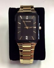 WITTNAUER Men's Gold Tone Stainless Steel Black Dial Diamond WATCH WN3092