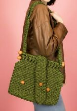 Vintage green woven rope knitted bag with wooden beads 40s 50s 60s Revival