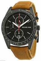 Michael kors Accelerator Chronograph Black Dial Tan Leather Men's Watch MK8385