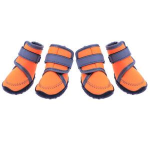 4Pcs Waterproof Dog Sport Shoes Nonslip Soft Sole Dog Boots For Pet (Orange)