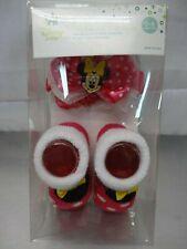 "Disney Minnie Mouse ""Polka-Dot"" Pink Baby Bootie & Headband Set # 0-6 Months"