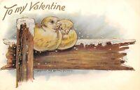 Valentine~Lovebirds Huddle in Snow~Sunshiny Weather~We're Together~Gold Emb~1906