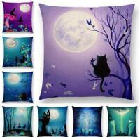 Cotton Linen Cat Moon Pattern Pillow Case Cushion Cover Waist Cover Home Decor