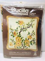 Vintage Needlepoint Yellow Roses Pillow Kit By Bucilla NIP Never Opened 14""