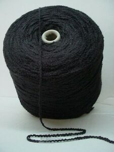 Solid Black Bulky 550 ypp Soft Rayon Boucle Cone Yarn~3.1  lbs