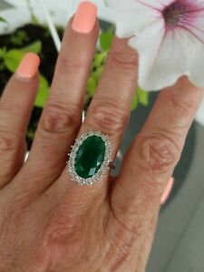 Elongated Oval Columbian Emerald Halo Ring, Sterling silver, Size 8