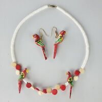 Vtg Heishi Shell Painted Wood Parrot Bead Necklace Earring Set Red White Bird