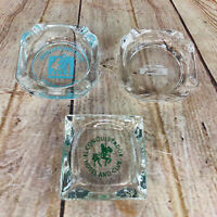 3 vtg Ashtrays avertising Man Cave Glass Motel Hotel Lodge bar ware