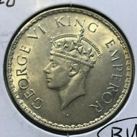 1940 British India 1 Rupee  George VI Silver Coin BU Condition