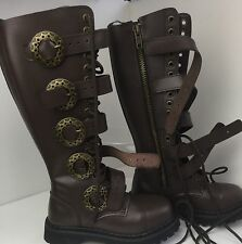 DEMONIA ~ FABULOUS STEAMPUNK 20 BROWN LEATHER BOOTS, GOTH, PUNK. SZ 3/36 NEW