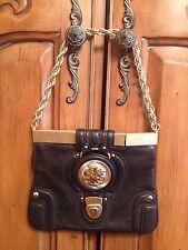 Juicy Couture Black Leather Evening Handbag / Clutch / Bag / Purse